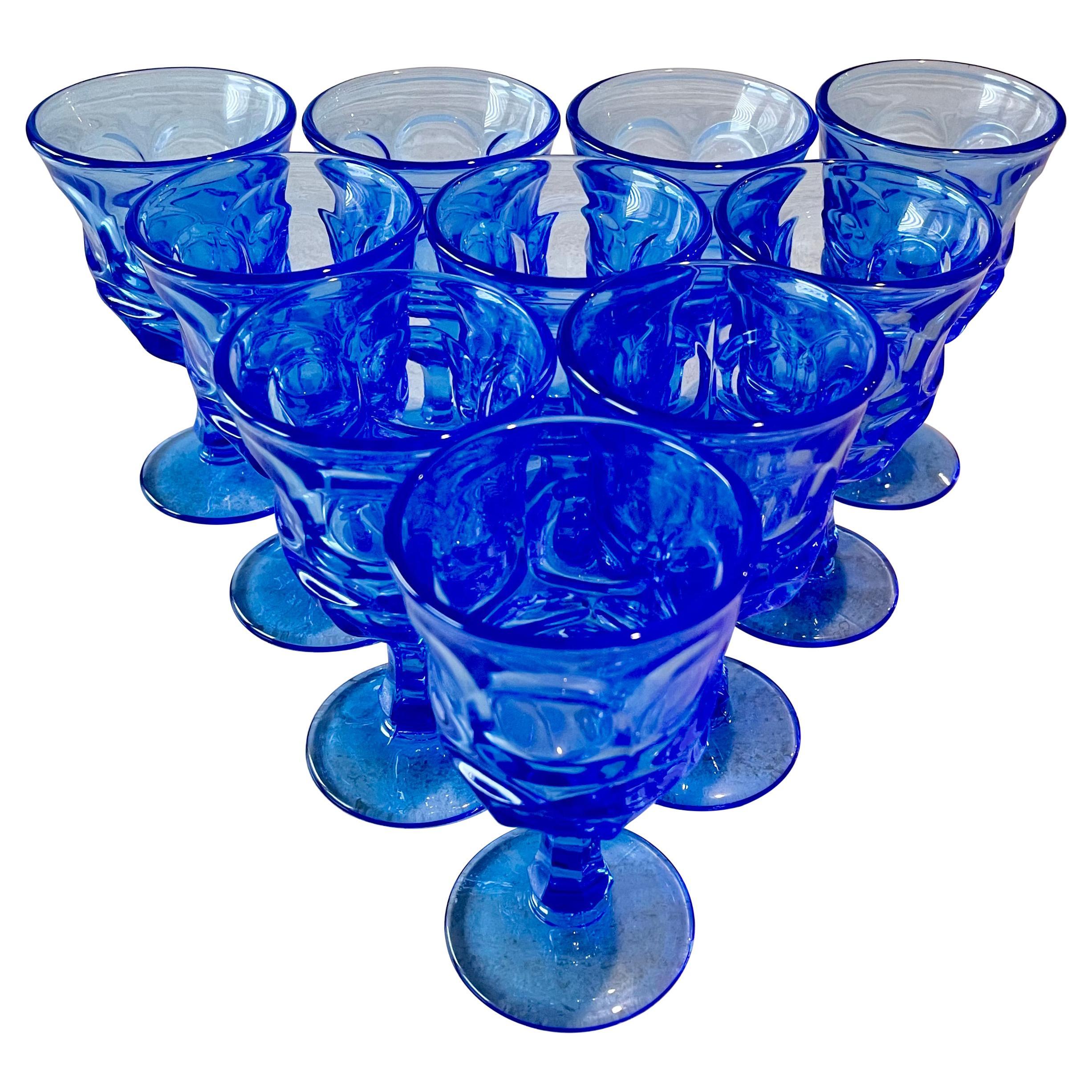 Blue Fostoria Cordial Glasses