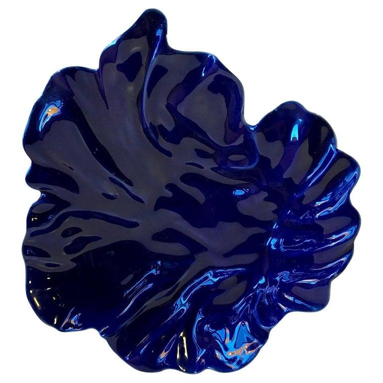Blue Freeform Natura Dish by Ole Kortzau for Royal Copenhagen, 1990s For Sale