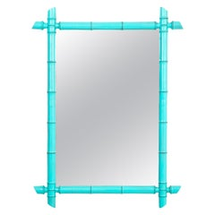 Blue French 20th Century Faux Bamboo Mirror