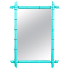 Blue French Faux Bamboo Mirror