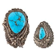 Blue Gem Turquoise Bracelet and Pendant Set