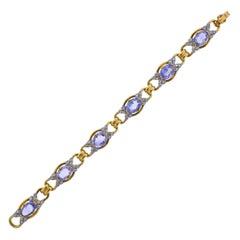 Blue Gemstone Diamond Gold Bracelet