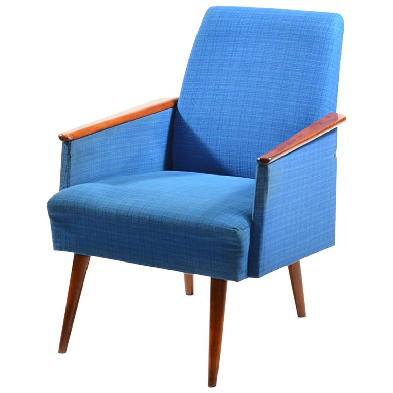 Blue German Armchair From Midcentury Era 1960s For Sale At 1stdibs