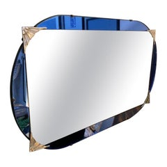 Blue Glas French Art Déco Wall Mirror, 1920s