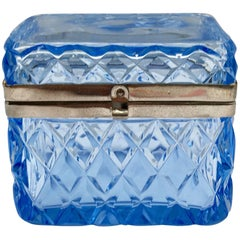 Blue Glass Box with Hinged Closure