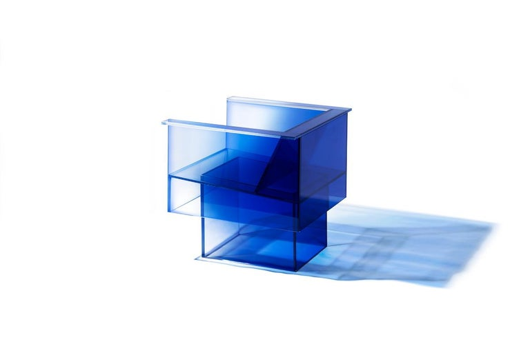Laminated Blue Glass Clear Transition Color Armchair by Studio Buzao Customizable For Sale