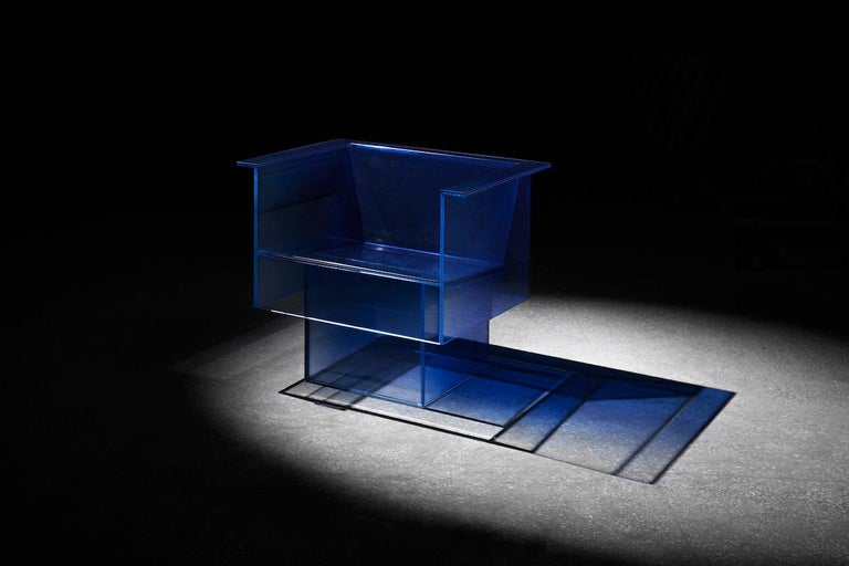 Blue Glass Clear Transition Color Armchair by Studio Buzao Customizable For Sale 1