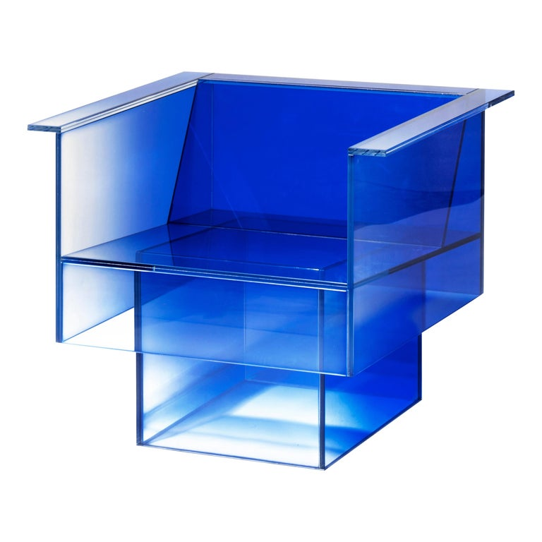 Blue Glass Clear Transition Color Armchair by Studio Buzao Customizable For Sale