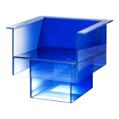 Blue Glass Clear Transition Color Armchair by Studio Buzao Customizable