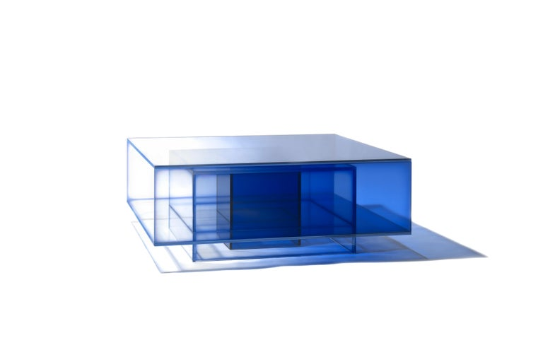 Chinese Blue Glass Clear Transition Color Coffee Table by Studio Buzao Customizable For Sale