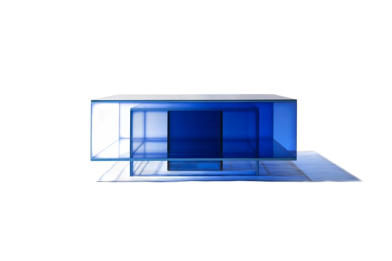 Laminated Blue Glass Clear Transition Color Coffee Table by Studio Buzao Customizable For Sale