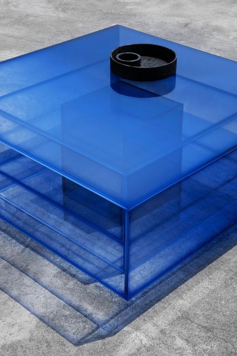 Contemporary Blue Glass Clear Transition Color Coffee Table by Studio Buzao Customizable For Sale