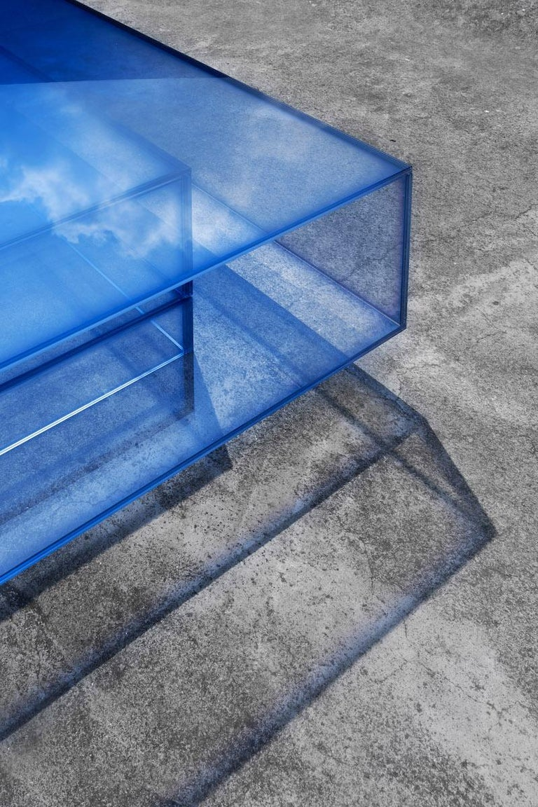 Blue Glass Clear Transition Color Coffee Table by Studio Buzao Customizable For Sale 3