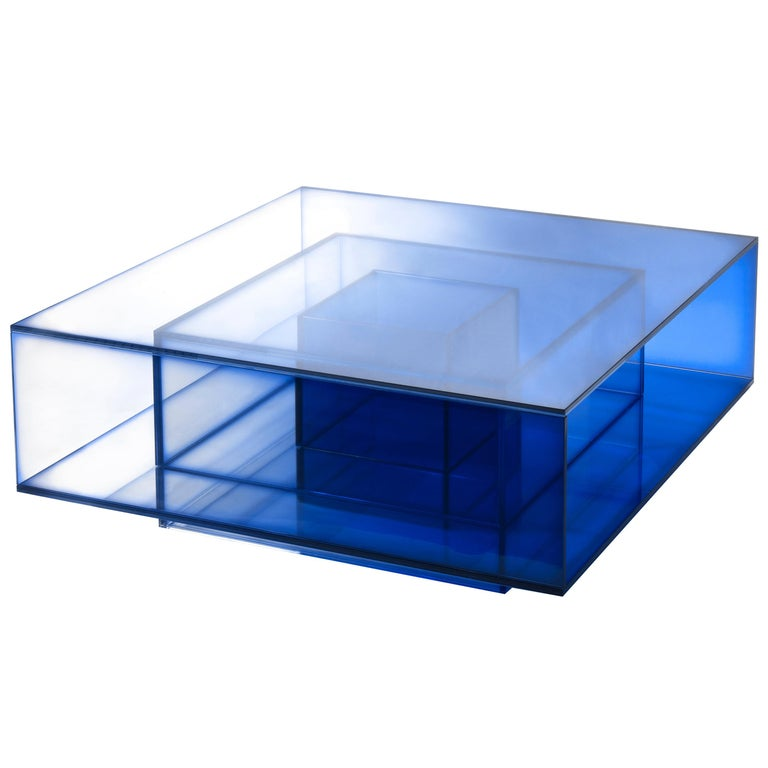 Blue Glass Clear Transition Color Coffee Table by Studio Buzao Customizable For Sale