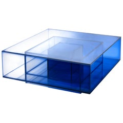 Blue Glass Clear Transition Color Coffee Table by Studio Buzao Customizable
