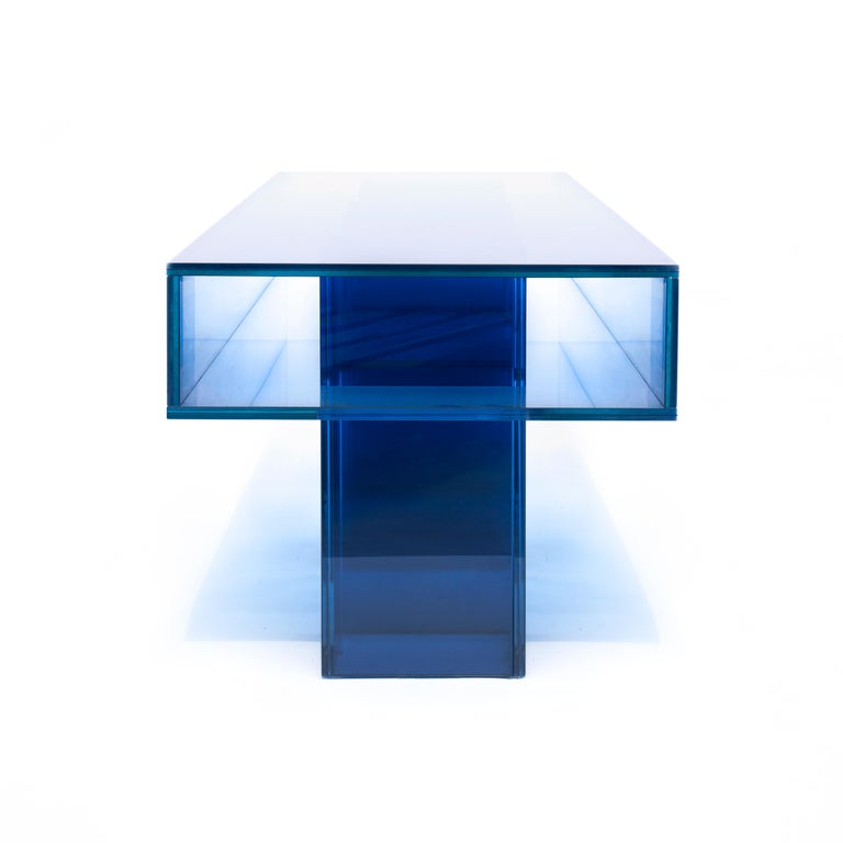 Blue Glass Clear Transition Color Square Long Bench by Studio Buzao Customizable In New Condition For Sale In Los Angeles, CA