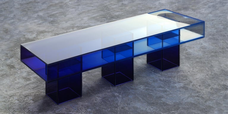 Contemporary Blue Glass Clear Transition Color Square Long Bench by Studio Buzao Customizable For Sale