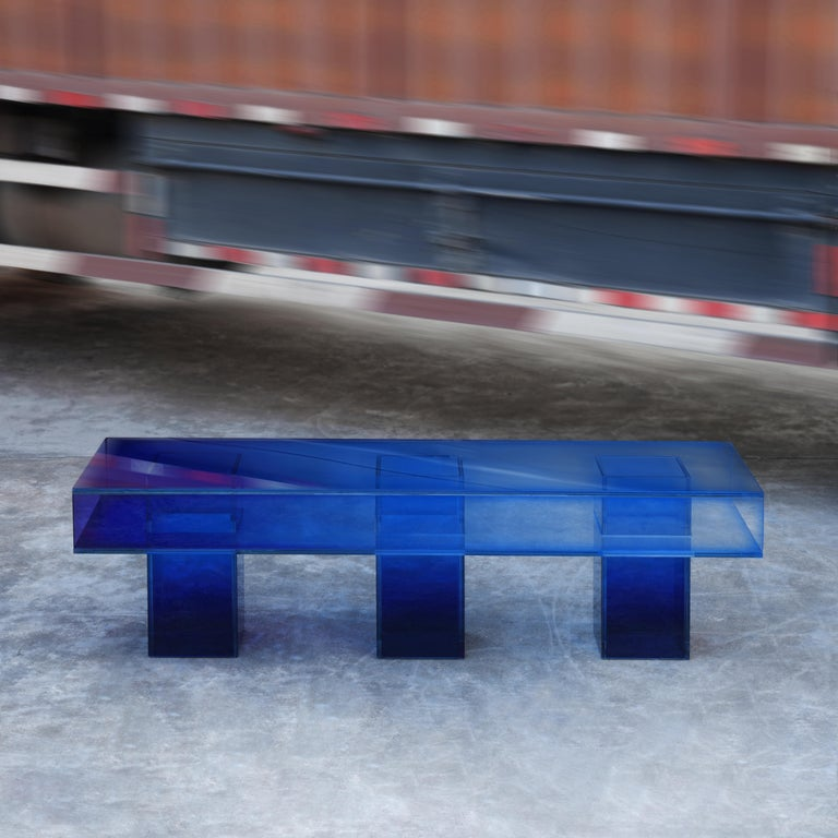 Blue Glass Clear Transition Color Square Long Bench by Studio Buzao Customizable For Sale 1