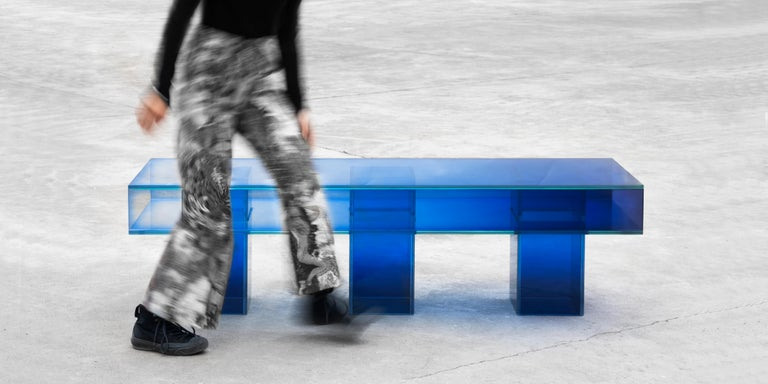 Blue Glass Clear Transition Color Square Long Bench by Studio Buzao Customizable For Sale 2