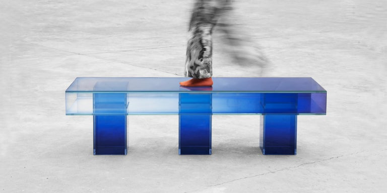 Blue Glass Clear Transition Color Square Long Bench by Studio Buzao Customizable For Sale 3
