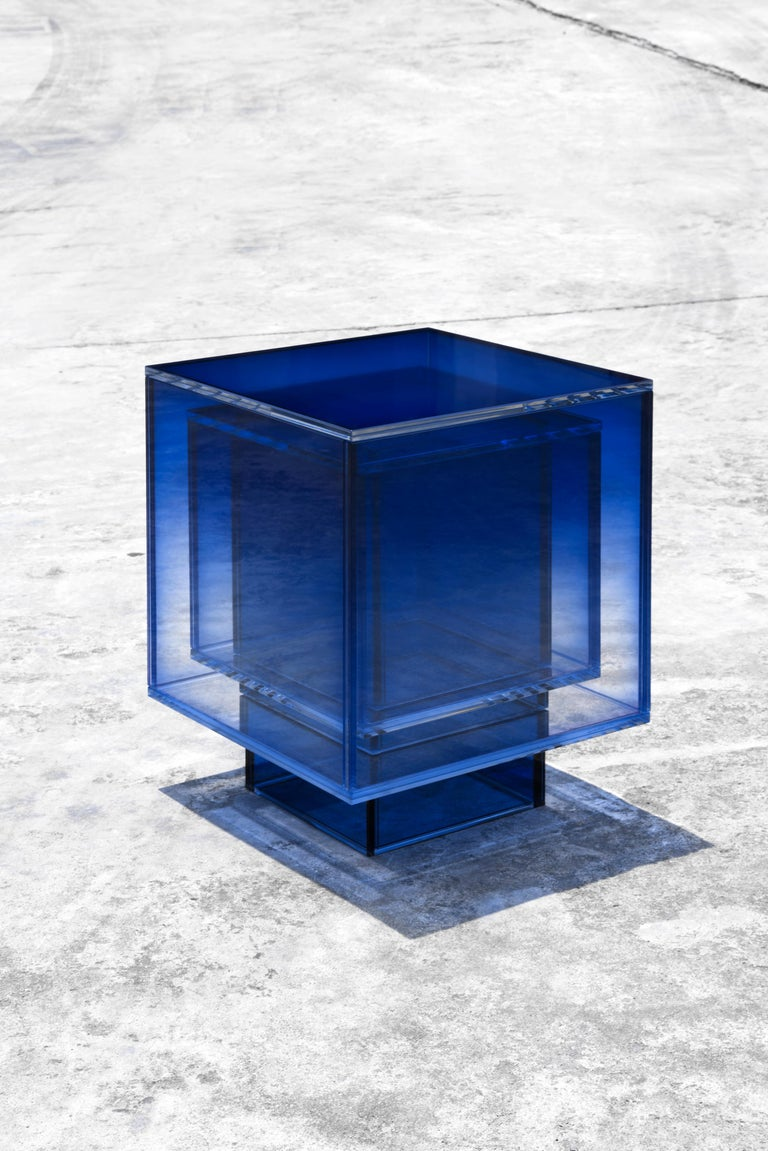 Chinese Blue Glass Clear Transition Color Square Table by Studio Buzao Customizable For Sale