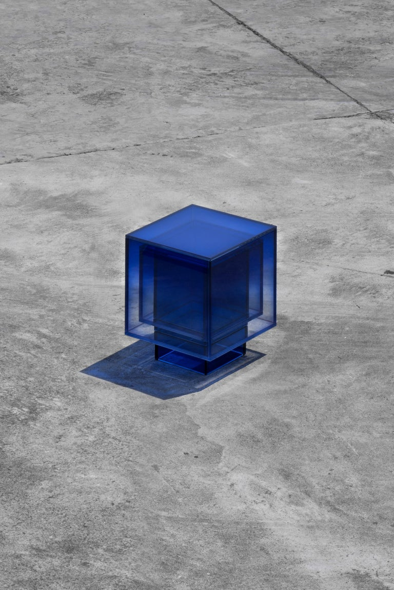 Blue Glass Clear Transition Color Square Table by Studio Buzao Customizable In New Condition For Sale In Los Angeles, CA