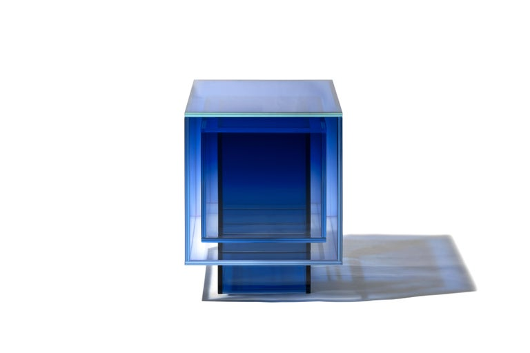 Blue Glass Clear Transition Color Square Table by Studio Buzao Customizable For Sale 1