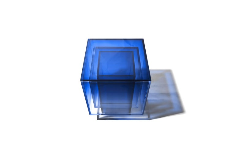 Blue Glass Clear Transition Color Square Table by Studio Buzao Customizable For Sale 2