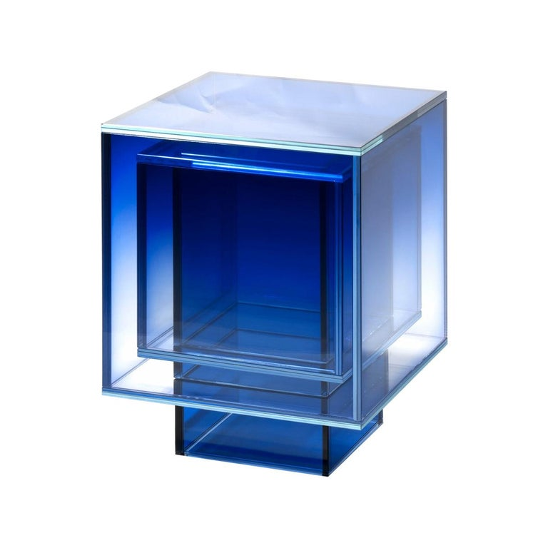 Blue Glass Clear Transition Color Square Table by Studio Buzao Customizable For Sale