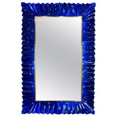 Blue Glass Framed Mirror, Italy, 2018