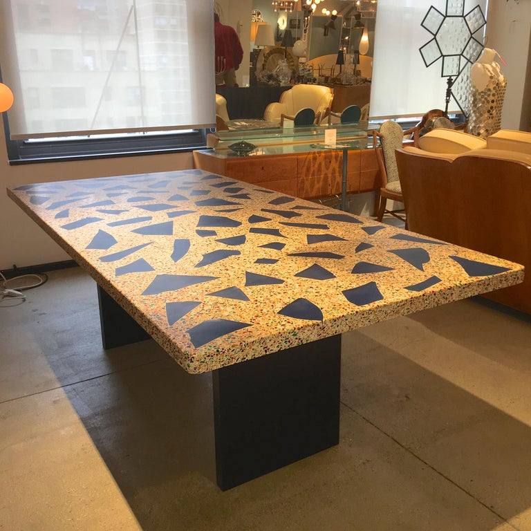Glass Kitchen Tables For Sale: Blue Glass Inset Terrazzo Top Dining Table For Sale At 1stdibs