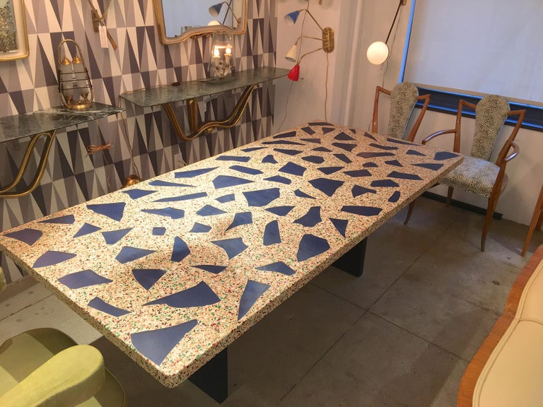 glass dining room tables for sale | Blue Glass Inset Terrazzo Top Dining Table For Sale at 1stdibs