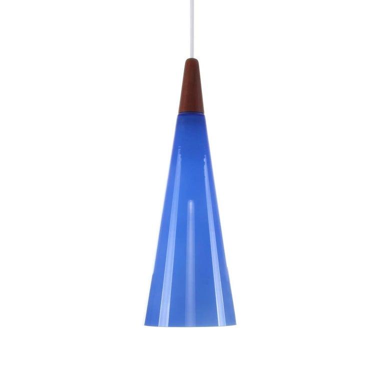 Blue Glass Pendant Light with Teak Top, 1970s, Scandinavian Modern Hanging Lamp