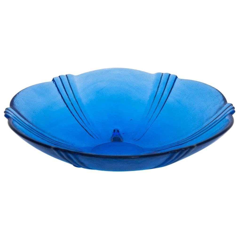 Blue Glass Platter, Poland, 1970s