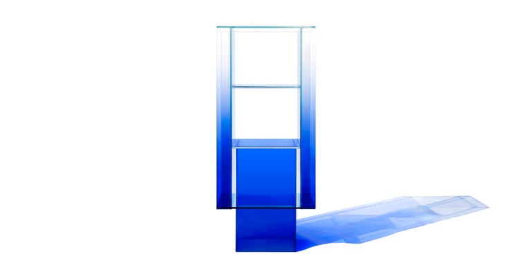This standing shelf is made with compound glass in blue color. Size and color are customizable upon request. 