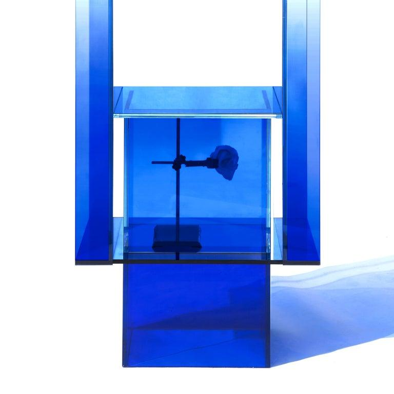 Chinese Blue Glass Shelf Clear Transition Color Square by Studio Buzao Customizable For Sale