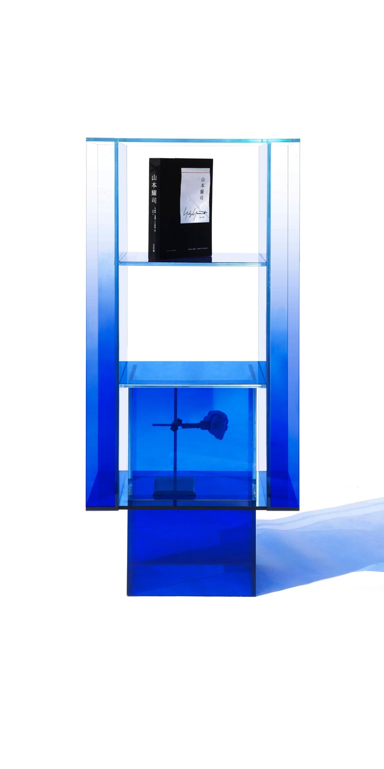 Blue Glass Shelf Clear Transition Color Square by Studio Buzao Customizable In New Condition For Sale In Los Angeles, CA