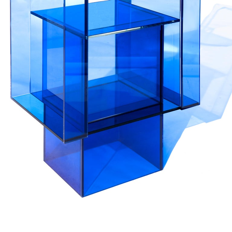 Contemporary Blue Glass Shelf Clear Transition Color Square by Studio Buzao Customizable For Sale