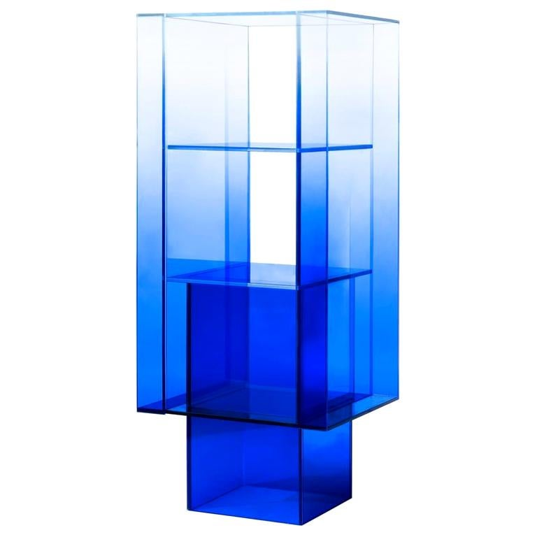 Blue Glass Shelf Clear Transition Color Square by Studio Buzao Customizable For Sale