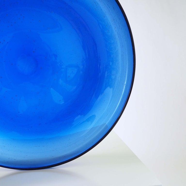 Scandinavian Modern Blue Glass Tray by Erik Höglund, Boda, Sweden For Sale