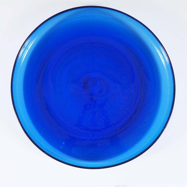 Swedish Blue Glass Tray by Erik Höglund, Boda, Sweden For Sale