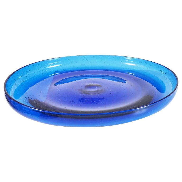 Blue Glass Tray by Erik Höglund, Boda, Sweden For Sale