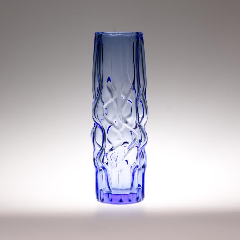 Beautiful blue color vase made in Czechoslovakia. Produced in Novy Bor in 1968, designed by Pavel Hlava. The vase comes from a series of vases popularly called the