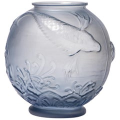 Blue Glass Vase by Pierre D'Avesn, France, circa 1930