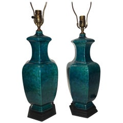 Blue-Glazed Ceramic Table Lamps