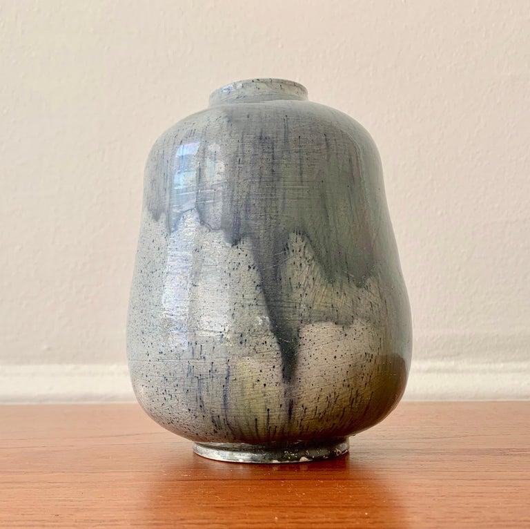 Finnish Blue Glazed Vase By Annikki Hovisaari For Sale
