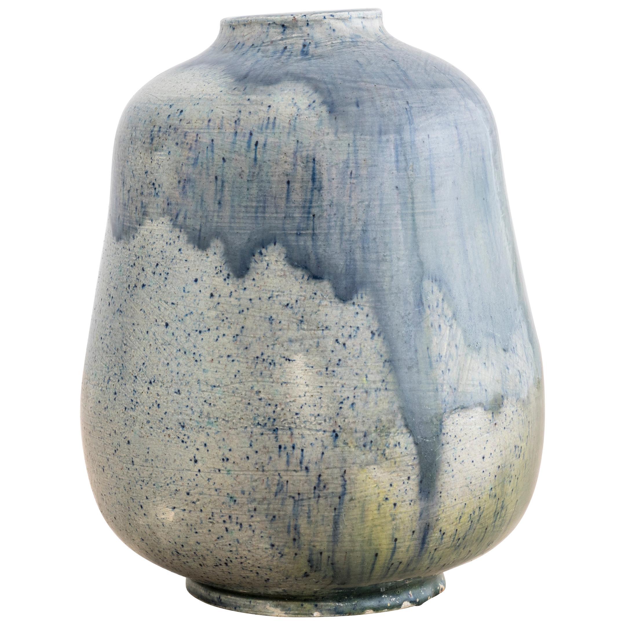 Blue Glazed Vase By Annikki Hovisaari