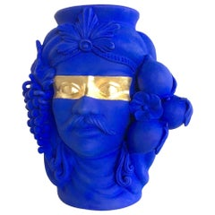 In Stock in Los Angeles, Blue & Gold Sasa Vase, Made in Italy