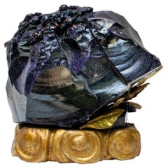 Blue Goldstone with Baroque Pearls on an 18th Century Italian Altar Base