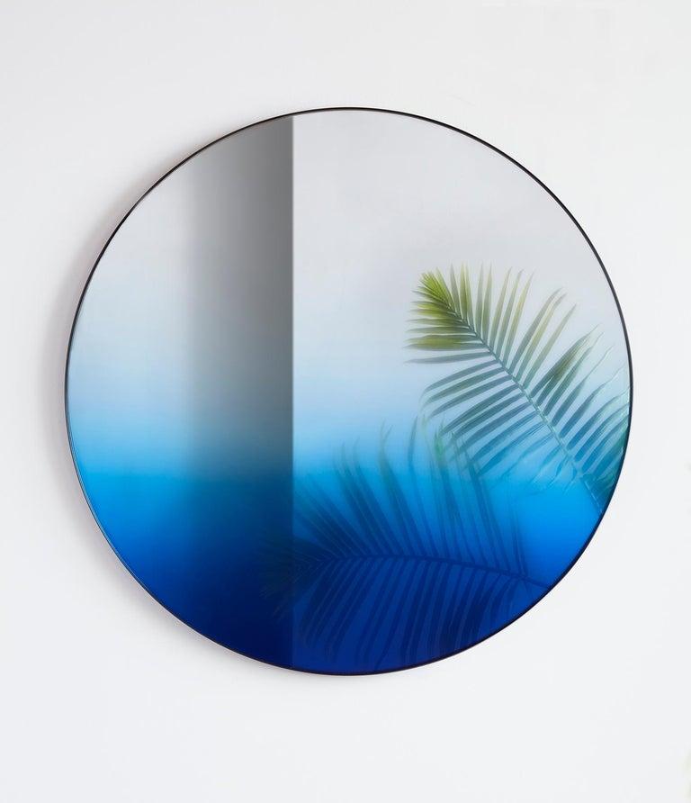 Modern Circular Blue Gradient Mirror by Phillip Jividen For Sale
